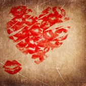 Kisses heart textured backgroud — Stock Photo