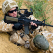 Stock Photo: Soldier in action