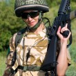 Girl soldier — Stock Photo