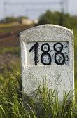 Old milestone in the grass — Stock Photo