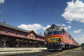 Old train at the station — Stock Photo