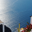 Terrace with flowers and sea view - Stockfoto