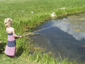 Little girl fishing — Стоковое фото