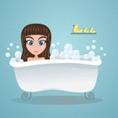 Girl in the bath — Stock Vector