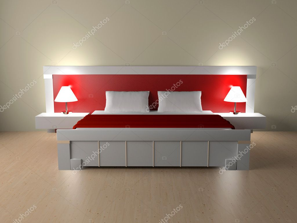 Modern interior of a bedroom room 3D — Stock Photo #2396241