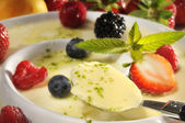 Panna Cotta with fruits — Stock Photo