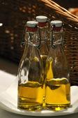 Vegetable oil bottles — Stock Photo