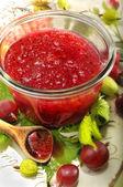 Red gooseberry jam — Stock Photo