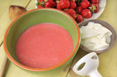 Strawberry youghurt cream — Stock Photo