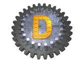 字母表-齿轮-字母 d — 图库照片