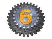 字母表-齿轮-编号 6 — 图库照片