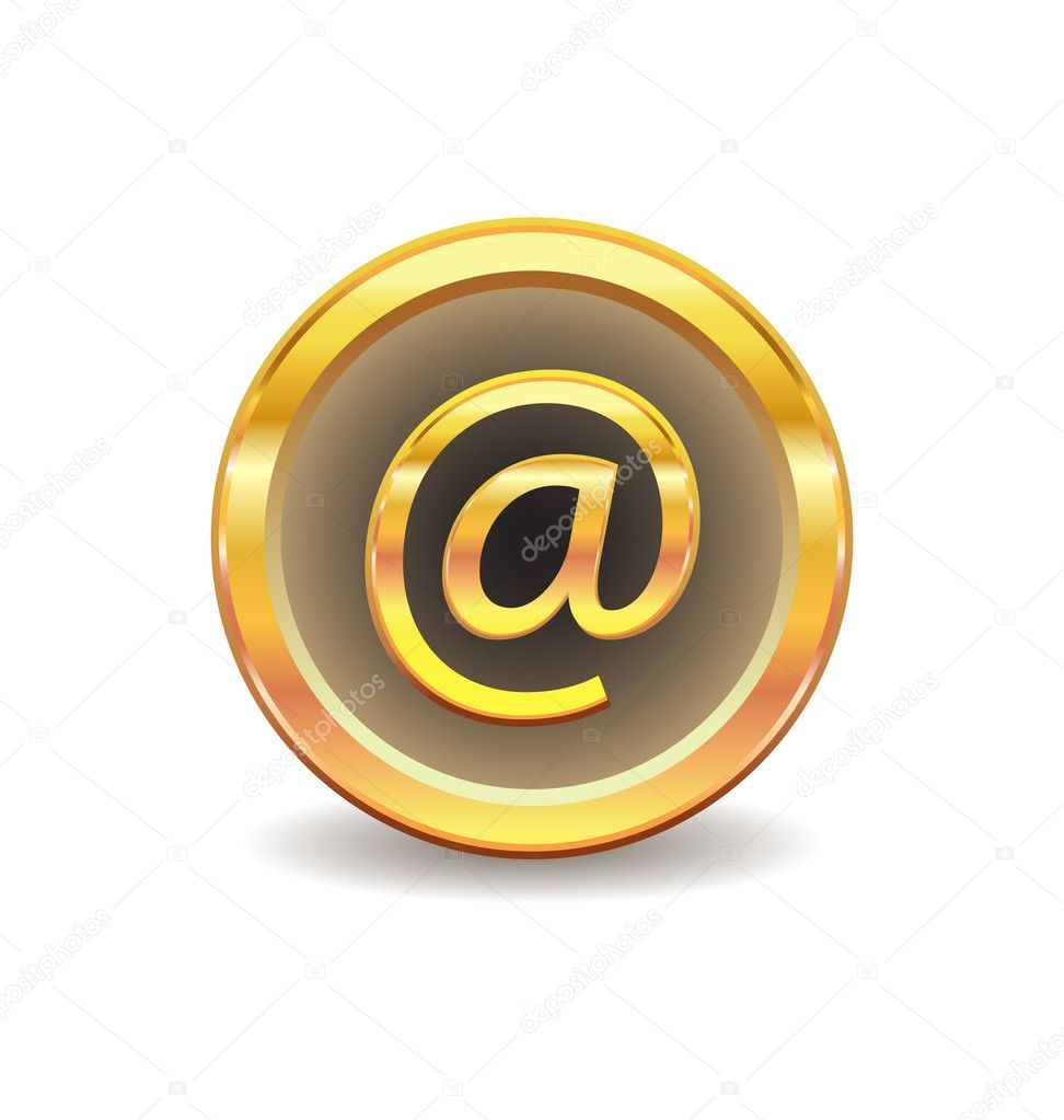 Gold button with email sign isolated on white background — Stock Vector #2394754