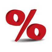 Red 3d percent sign — Stock Vector