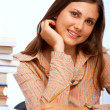 Beautiful female student smiling — Stockfoto