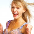 Screaming Cheerleader — Stock Photo