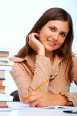 Beautiful female student smiling — Stock Photo
