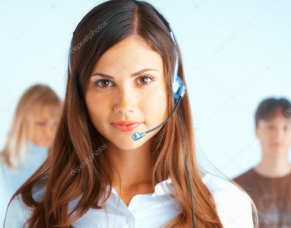 Young beautiful woman with headset with some at the background — Foto Stock #2659223