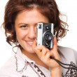 Stock Photo: Womwith video camera