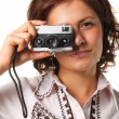 Foto Stock: Womwith video camera