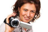 视频摄像机的女人 — 图库照片