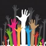 Happy volunteering hands — Stock Vector #2351378