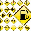 Road Signs YELLOW series — 图库矢量图片