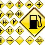 vägskyltar gula serien — Stockvektor