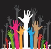 Happy volunteering hands — Stock Vector