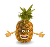 Cartoon pineapple. Objects over white. — Stock Photo