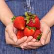 Woman and strawberry — Stock Photo