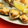Baked mussels - Stock Photo