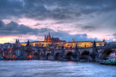 Prague castle at night - HDR photo — Stock Photo