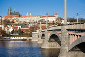 Prague castle and Manes bridge — Stock Photo