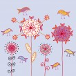 Royalty-Free Stock Vector Image: Card with traditional flowers and birds