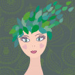 Girl with leaves hair — Stock Vector