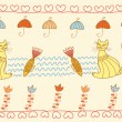 Royalty-Free Stock Vector Image: Seamless pattern with cats and fish