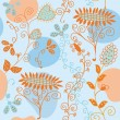 Floral blue and orange seamless pattern — Stock Vector #2384783