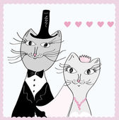 Funny cats - bride and groom — Stock Vector