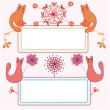 Funny banners with cats and flowers — Stock Vector