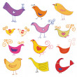 Vector set of cute birds — Stock Vector