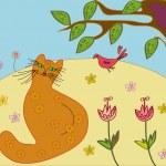 Scene with cat and bird — Stock Vector