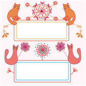 Funny banners with cats and flowers — Stockvektor