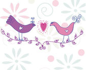 Cute card with pair of birds — Stock Vector
