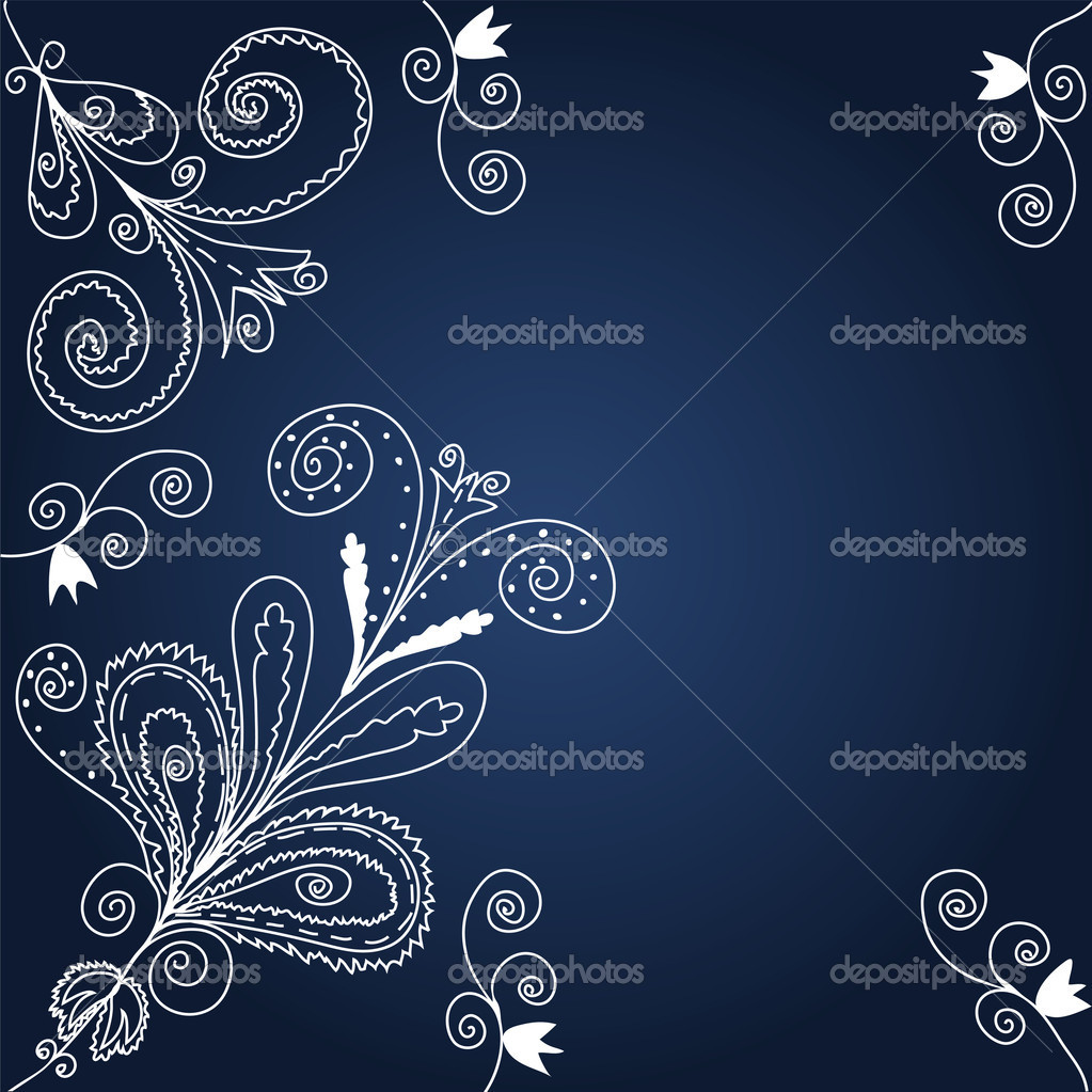 Blue and white graphic floral  background — Stock Vector #2403429