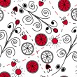 Seamless red black pattern - Stock Vector