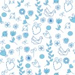 Stock Vector: Seamless pattern with blue flowers