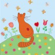 Cute card with cat — Imagen vectorial
