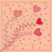 Hearts flowers love card — Stock Vector