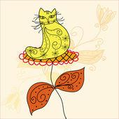 Смешные кошки в цветке — Cтоковый вектор