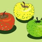 Stilysed three apples — Stock Vector